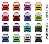 sixteen vehicles front view.... | Shutterstock .eps vector #340466750