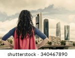 woman superhero with red cape... | Shutterstock . vector #340467890