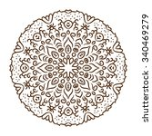 hand drawn henna tattoo mandala.... | Shutterstock . vector #340469279