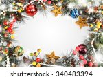 christmas background isolated... | Shutterstock . vector #340483394