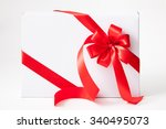 isolated white box  bow and... | Shutterstock . vector #340495073