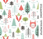 seamless christmas pattern | Shutterstock .eps vector #340499510