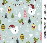 seamless christmas pattern  | Shutterstock .eps vector #340500368
