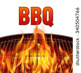 closeup bbq grill fire on white ... | Shutterstock .eps vector #340504766