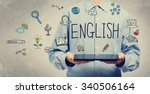 english concept with young man... | Shutterstock . vector #340506164