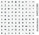 religion 100 icons universal... | Shutterstock .eps vector #340512380