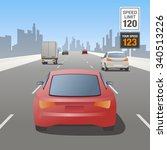 motor vehicles driving on... | Shutterstock .eps vector #340513226