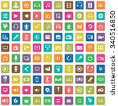 multimedia  video 100 icons... | Shutterstock .eps vector #340516850