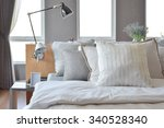 stylish bedroom interior design ... | Shutterstock . vector #340528340
