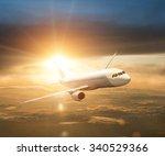 airplane during sunset sunrise | Shutterstock . vector #340529366