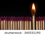 lit match standing middle of... | Shutterstock . vector #340531190