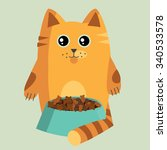 cat with a plate of food | Shutterstock .eps vector #340533578