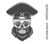 bearded skull with captain cap... | Shutterstock .eps vector #340535630