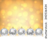 christmas card with silver... | Shutterstock .eps vector #340536434