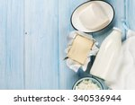 Dairy Products On Wooden Table...