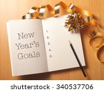 new year's goals with gold... | Shutterstock . vector #340537706