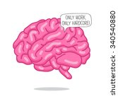 pink brain. the inscription in... | Shutterstock .eps vector #340540880