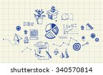 banner with business hand drawn ... | Shutterstock .eps vector #340570814