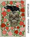 roses and skull    Shutterstock .eps vector #340574918