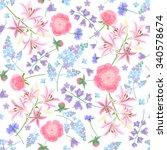 floral pattern with garden...   Shutterstock .eps vector #340578674