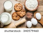 baking ingredients on a wooden... | Shutterstock . vector #340579460