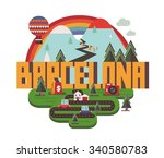 barcelona city is a beautiful... | Shutterstock .eps vector #340580783