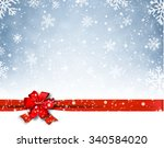 winter background with red bow. ... | Shutterstock .eps vector #340584020