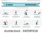 illustration of depression info ... | Shutterstock .eps vector #340589318