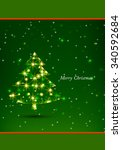 christmas greeting card. merry... | Shutterstock .eps vector #340592684