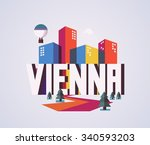 vienna city is a beautiful... | Shutterstock .eps vector #340593203