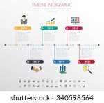 timeline infographics with... | Shutterstock .eps vector #340598564