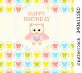 baby girl arrival card. baby... | Shutterstock .eps vector #340611380
