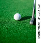 white golf ball on green grass... | Shutterstock . vector #340615760