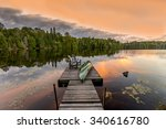 green canoe and chairs on a... | Shutterstock . vector #340616780
