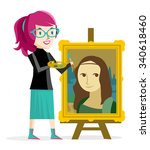 artist girl painting the mona... | Shutterstock .eps vector #340618460