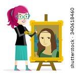 artist girl painting the mona...   Shutterstock .eps vector #340618460