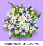 greeting card. bouquets of...   Shutterstock .eps vector #340629296