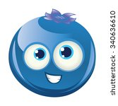 blueberry   smiling happy face... | Shutterstock .eps vector #340636610