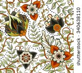 vector floral seamless pattern... | Shutterstock .eps vector #340638110