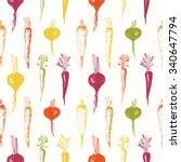 hand drawn root vegetables.... | Shutterstock .eps vector #340647794