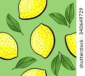 seamless hand drawn lemon...   Shutterstock .eps vector #340649729