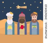 the three kings of orient  wise ... | Shutterstock .eps vector #340650410