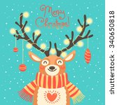 xmas card with christmas santa... | Shutterstock .eps vector #340650818