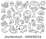 doodle set of objects from a... | Shutterstock .eps vector #340658216