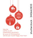 set of 4 hanging christmas... | Shutterstock .eps vector #340662833