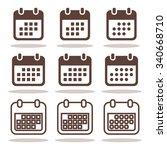 calendar icons set. flat vector ... | Shutterstock .eps vector #340668710