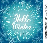 hello winter text. vector brush ...   Shutterstock .eps vector #340671764