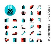 fitness and sport icon set... | Shutterstock .eps vector #340673834