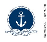nautical badge with anchor.... | Shutterstock .eps vector #340675028
