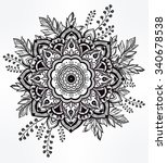 hand drawn ornate flower in the ... | Shutterstock .eps vector #340678538